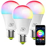 WiFi Smart Bulb No Hub Required, A19 E26 7W (60w Equivalent) Multicolor Dimmable 2700k-6500k RGBCW LED Magic Hue Smart Light, Compatible with Alexa Google Home Siri IFTTT (3 Pack)