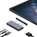 USB C Hub Adapter for iPad Pro 11'/12.9' 2018 Surface Go, JoyGeek Type C Adaptor Dongle to 4K HDMI Connector, USB-C PD 60W Charge, USB 3.0 and 3.5mm Headphone Jack Docking Station Tablet Converter