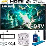 Samsung UN55RU8000 55' RU8000 LED Smart 4K UHD TV (2019) w/Deco Mount Slim Flat Wall Mount Ultimate Bundle, Screen Cleaner (Large Bottle) and SurgePro 6-Outlet Surge Adapter w/Night Light